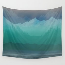 Ombre Mountainscape (Blue, Aqua) Wall Tapestry