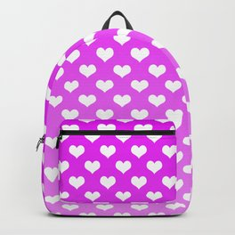 Light Pink Gradient White Hearts Backpack