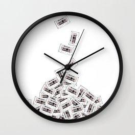 A pile of mixtapes Wall Clock