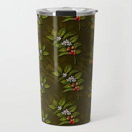 Coffee Plant Branches w/ Coffee Cherries & Flowers Travel Mug