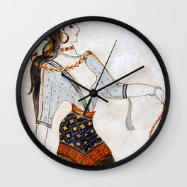 Minoan Woman with Beads Wall Clock