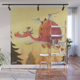 THE LITTLE GIRL AND THE DRAGON Wall Mural