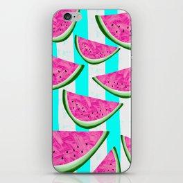 Watermelon Crush on Aqua and White Stripes iPhone Skin