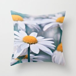 Marguerite blue 032 Throw Pillow