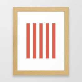 Jelly bean pink - solid color - white vertical lines pattern Framed Art Print
