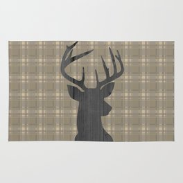 Country Farmhouse Rustic Decor, Plaid and Stag, Beige, Brown Rug