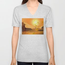 Alone ion the Desert Unisex V-Neck