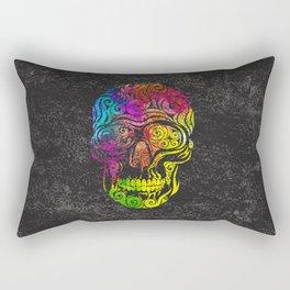 Swirly Skull (color) Rectangular Pillow