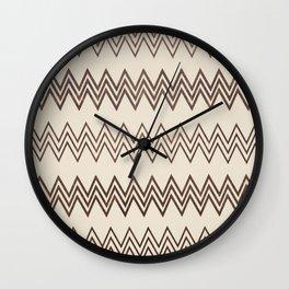 Vintage white brown faux leather geometrical chevron Wall Clock