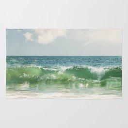 Ocean Sea Landscape Photography, Seascape Waves, Blue Green Wave Photograph Rug
