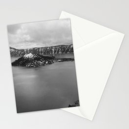 Mountain Lake View B&W Stationery Cards