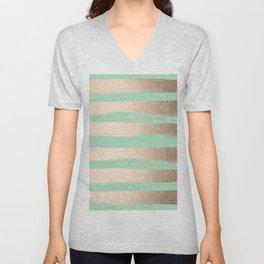 Painted Stripes Gold Tropical Ocean Green Unisex V-Neck
