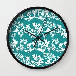 Turquoise Seaweed Pattern Wall Clock