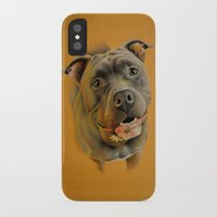 pit bull iPhone & iPod Cases featuring American pit bull terrier by Frederica Morgan