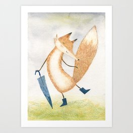 It stopped raining, Mr Fox Art Print