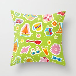Summer Fun Green Throw Pillow