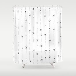 Stars Doodle Pattern Shower Curtain