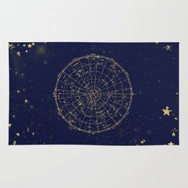 Metallic Gold Vintage Star Map 2 Rug