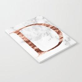 Monogram rose gold marble D Notebook