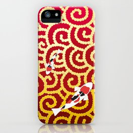 Colored carp with the Japanese pattern (cloud arabesque) Gold and Deep red color iPhone Case