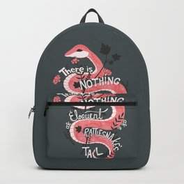 There is nothing as eloquent as a rattlesnake's tail, inspirational quote Backpack
