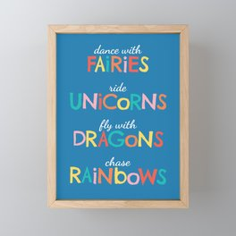 Fairies, Unicorns, Dragons & Rainbows Framed Mini Art Print