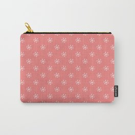 White on Coral Pink Snowflakes Carry-All Pouch