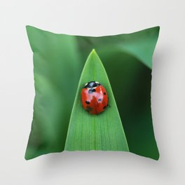Ladybug on Leaf Throw Pillow