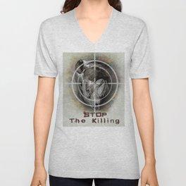 Black Rhino Stop The Killing Illustration Unisex V-Neck