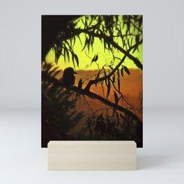 Kookaburra Silhouette Sunset Mini Art Print