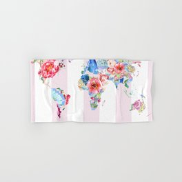 Floral World - Pink Stripe Hand & Bath Towel