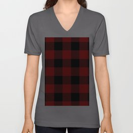 Western Country Woodland Christmas Cottage Primitive lumberjack Buffalo Plaid Unisex V-Ausschnitt