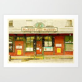 Harbor Fish Market Art Print