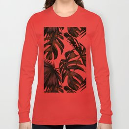 Classic Palm Leaves Tropical Jungle Green Long Sleeve T-shirt