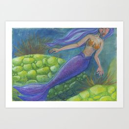 The Mermaid and The Turtles Art Print