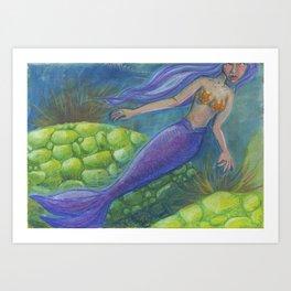 The Mermaid and The Turtles Art Print