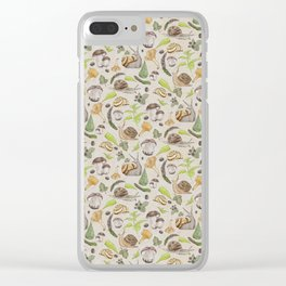 Woodland Snail in Watercolor Fungi Forest, Moss Green and Ochre Earth Animal Pattern Clear iPhone Case