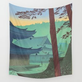 Asano Takeji Japanese Woodblock Print Vintage Mid Century Art Teal Turquoise Sunrise Shrine Wall Tapestry