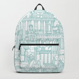 Ancient Greece teal white Backpack