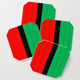 kwanzaa red black green stripes coasters