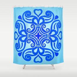 HUNGARIAN ORNAMENTS - Femininity mandala in blue Shower Curtain