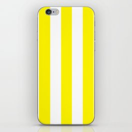 Cadmium yellow - solid color - white vertical lines pattern iPhone Skin