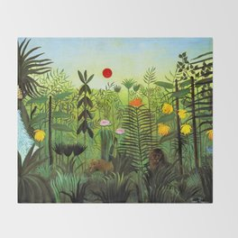 """Henri Rousseau """"Exotic Landscape with Lion and Lioness in Africa"""", 1903-1910 Throw Blanket"""