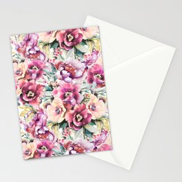 Watercolor peonies pattern Stationery Cards