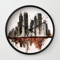 nyc Wall Clocks featuring NYC by Rosalia Mendoza