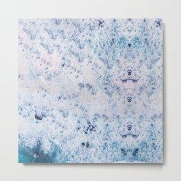 blue purple white waves fur texture look Metal Print