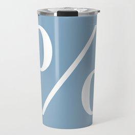 percent sign on placid blue color background Travel Mug