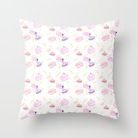 macaroon Throw Pillows featuring Macaroon Delight Pattern by kitelin