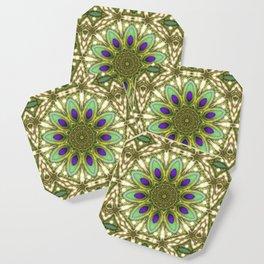 Peacock Healing Light Mandala Coaster