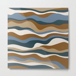 Cordillera Stripe: Teal Blue & Rusty Orange Combo Metal Print